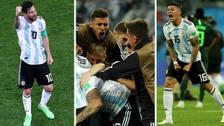El emotivo festejo de los jugadores argentinos tras vencer a Nigeria