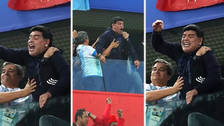 La celebración de Diego Maradona tras la clasificación de Argentina