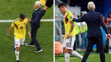 La fría reacción de James Rodríguez al ser cambiado en el primer tiempo
