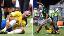 La exagerada reacción de Neymar tras recibir una pisada