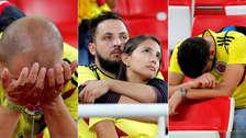 El sufrimiento de los hinchas de Colombia tras la eliminación del Mundial