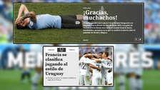 Uruguay en portadas del mundo tras dolorosa derrota ante Francia
