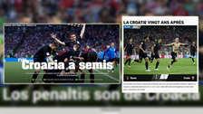 Croacia en portadas del mundo tras vencer a Rusia en penales