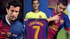 Coutinho y los últimos jugadores que vistieron la camiseta '7' de Barcelona
