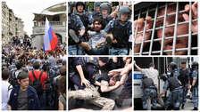 Fotos | Más de 400 detenidos en Moscú en marcha contra los arrestos violentos a voces críticas en Rusia