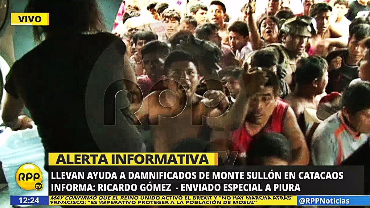 Caos en la entrega de donaciones a los damnificados de Catacaos