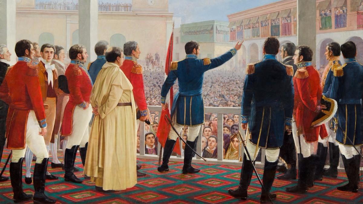 Histórico cuadro del general San Martín leyendo la proclama de la independencia en la Plaza Mayor de Lima el 28 de julio de 1821, frente a todas las autoridades civiles, religiosas y militares de la ciudad.
