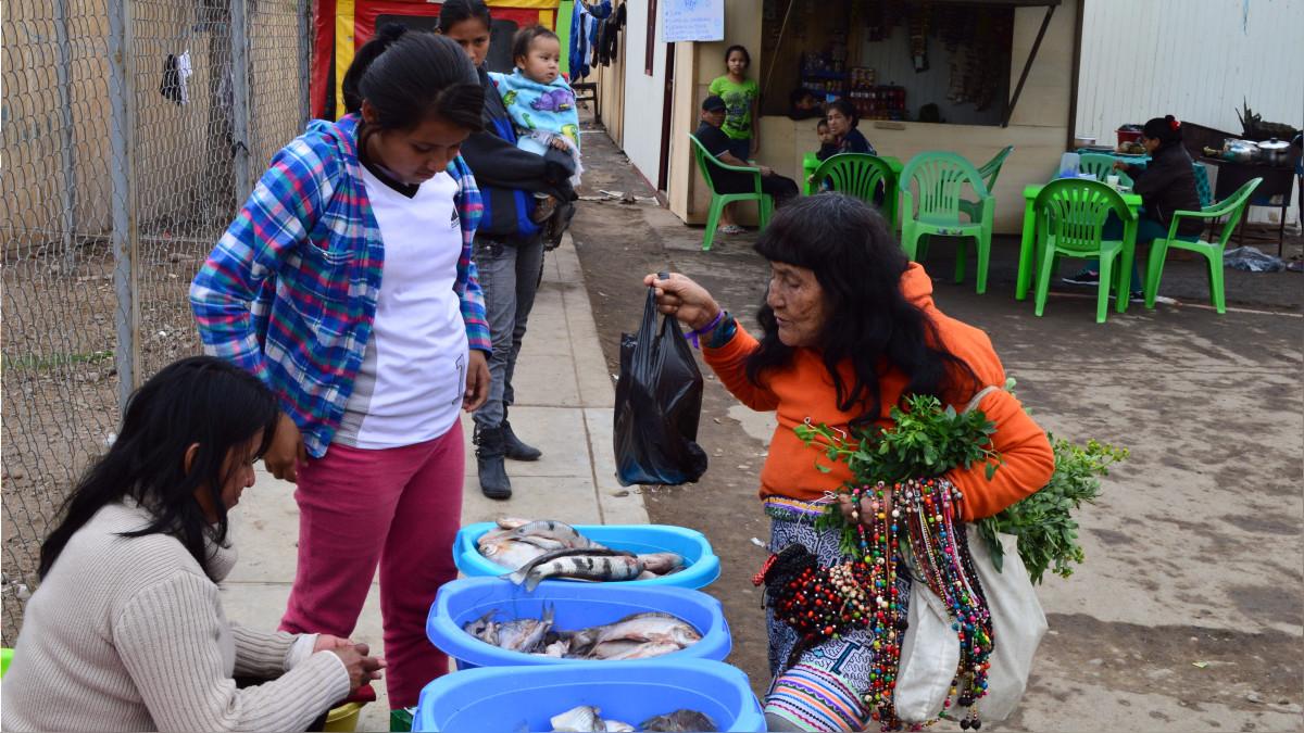 Madres Shipibas dedicadas a la venta de pescado y artesanías.