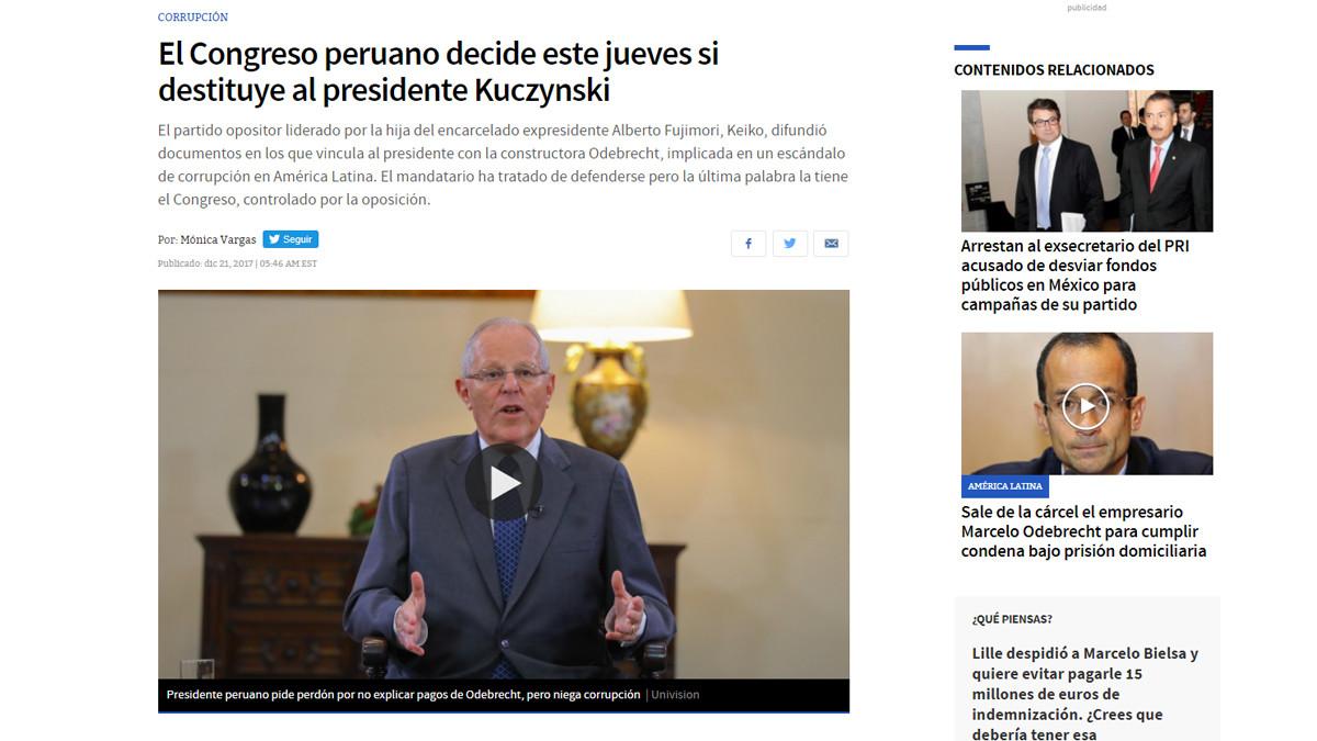 Univision, medio estadounidense en español. | Fuente: Univision