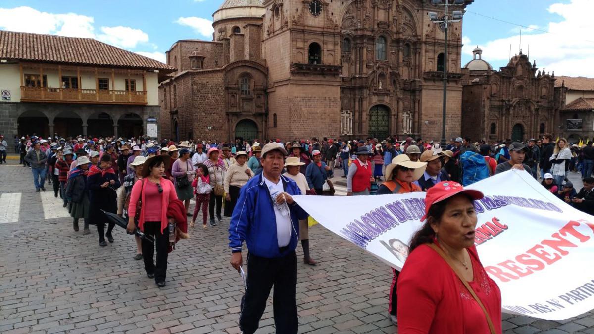 La movilización también se realizó en la plaza de armas del Cusco. | Fuente: RPP Noticias