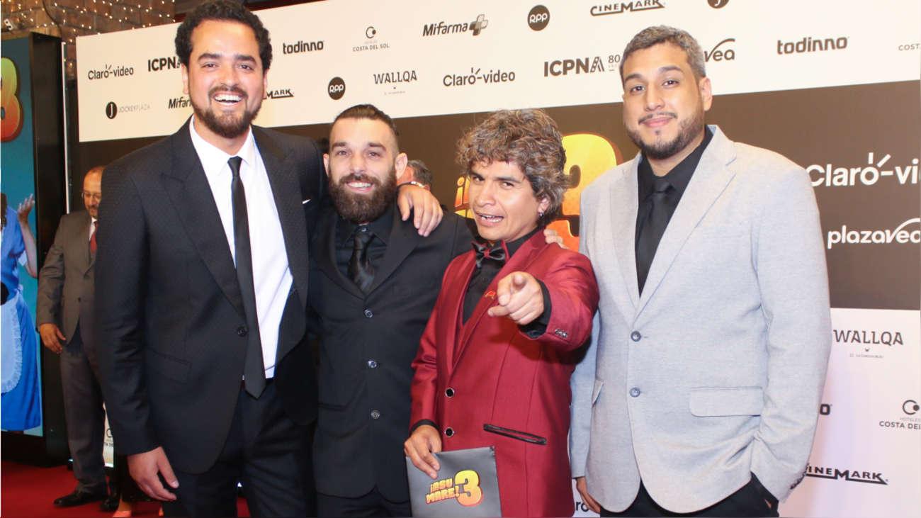 Franco Cabrera, Andrés Salas, Miguel Vergara y Ricardo Mendoza en la alfombra roja de