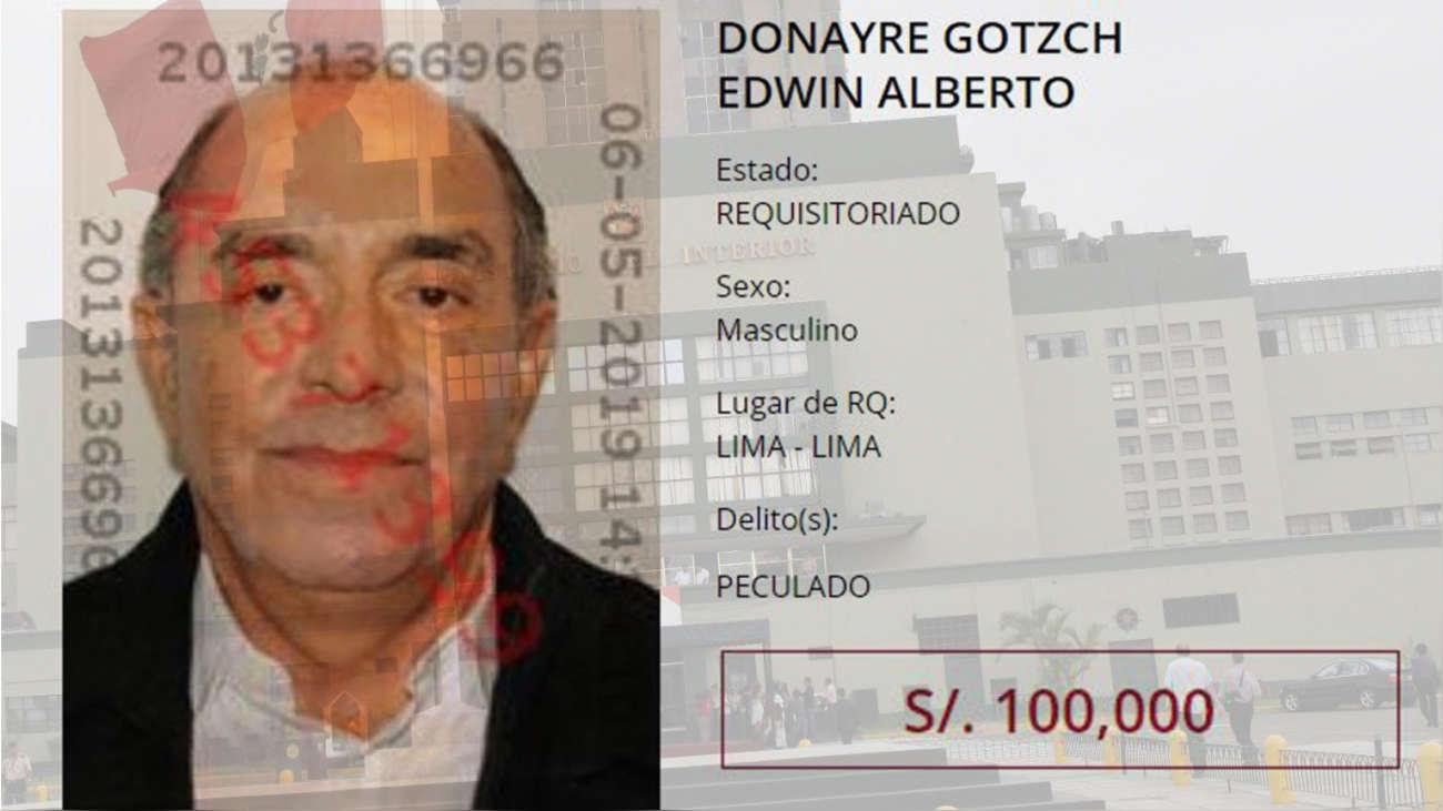 Edwin Donayre fue incluido en la lista de los más buscados con una recompensa de 100 mil soles