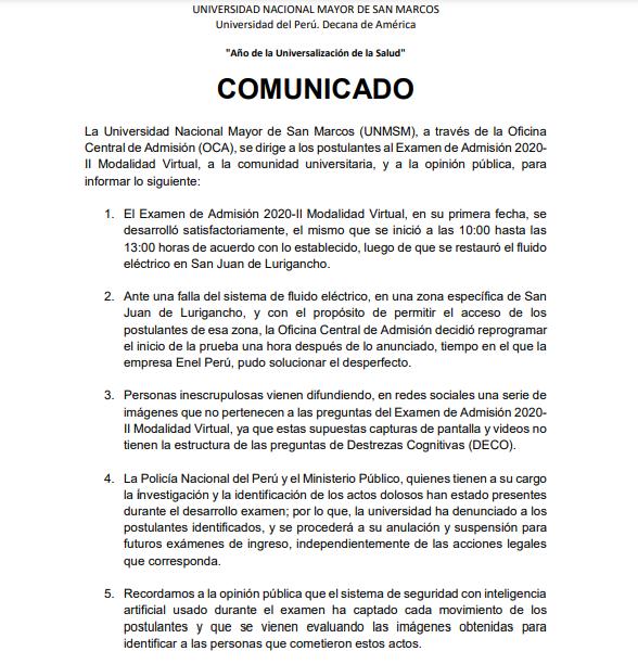 La Unmsm Respondio A Las Acusaciones De Plagio Durante El Examen De Admision Virtual 2020 Ii Rpp Noticias